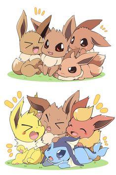 Twitter Pokemon Comics, Pokemon Fan Art, Pokemon Ships, Eevee Wallpaper, Cute Pokemon Wallpaper, Baby Pokemon, Eevee Evolutions, Pokemon Eeveelutions, Eevee Comic