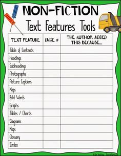 Non-fiction text features lessons and strategies to improve comprehension.  TeacherKarma.com