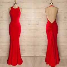 Halter Neck Backless Fitted Prom Dress