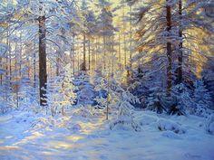 """""""Winter Landscape"""" is an oil painting by artist Gennadiy Kirichenko. Beautiful Landscape Paintings, Nature Paintings, Landscape Photos, Landscape Art, Painting Snow, Winter Painting, Winter Art, Winter Snow, Winter Scenery"""