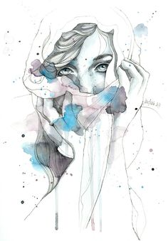 canvaspaintings:  Scarf, original drawing with watercolor by JaneBeata (49.00 EUR) http://ift.tt/1oK6fHx