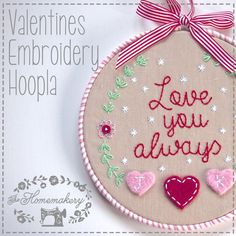 Valentines Embroidery Hoopla