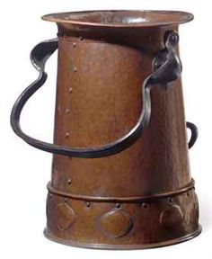 """Gustav Stickley Hammered Copper and Wrought Iron Coal Bucket #351 - 16-1/2"""""""