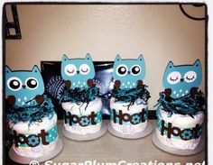 Owl Diaper Cake Minis, Custom / Baby Shower Gifts / Birthday / Centerpieces