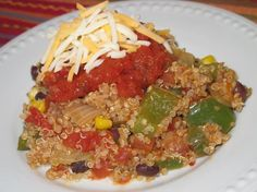 Spicy Mexican Quinoa Casserole  I would add a few more veggies into this, but it looks delicious