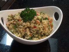 We love Costcos quinoa salad so I was thrilled when I stumbled across the recipe in finecooking.com Its best to make this salad the day before you plan to serve it to give the grains time to absorb the vinaigrette and to let the flavors blend.  Take it out of the fridge 30 to 45 minutes before serving for the best flavor.