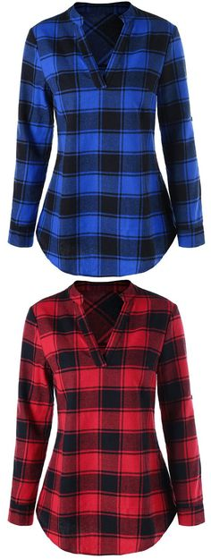Best Plaid Blouse to inspire Shipping Worldwide! Casual Wear, Casual Outfits, Cute Outfits, Fashion Outfits, Fall Winter Outfits, Autumn Winter Fashion, Sewing Blouses, Modelos Plus Size, What To Wear