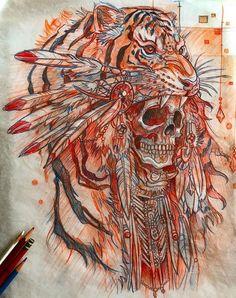 Эскиз тату с черепом и тигром