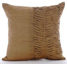 "Gold Brown Pleats - Gold Art Silk 16""X16"" Pillow Covers Decorative"