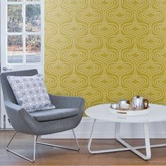 Layla Faye Whistle Dots Meadow Mustard Wallpaper - Live Like The Boy Patio Chair Cushions, Patio Chairs, Beach Chairs, Office Chairs, Antique Dining Chairs, Mid Century Dining Chairs, Mustard Wallpaper, Teal Living Rooms, Minimalist Office