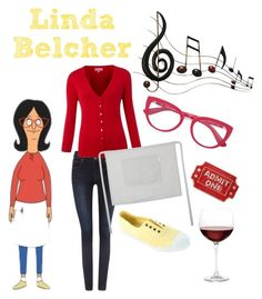 """Linda Belcher - Bob's Burgers"" by missarsenic on Polyvore featuring Dr. Denim, The Department, The Linen Works, Victoria, Dolce&Gabbana, Music Notes, Frontgate and Nordstrom"