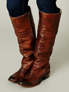 NEW!~$350~ANTHROPOLOGIE~FREEBIRD BY STEVEN 'WRANGLER' TALL LEATHER BOOT TAN 7M! #FreebirdbySteven #FashionKneeHigh