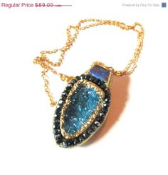 BDAY SALE Sparkling water blue druzy by YaronaJewelryDesign, $80.10