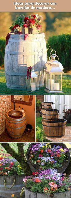 Decoración con barriles de madera. Toneles reciclados. Decoración con barricas de madera.
