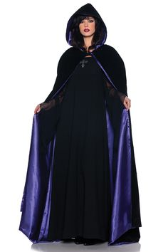 Satin lining with flocked damask print. Gorgeous velvety & thick hooded cape will. -full length black velour cape with vivid satin lining. -black cape lined with purple satin. Purple Halloween, Trendy Halloween, Purple Satin, Purple Velvet, Black Velvet, Black Cape, Capes For Women, Girl Costumes, Halloween Costumes