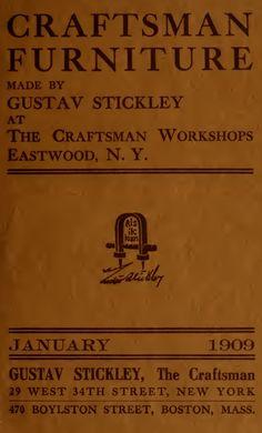 Catalogue of craftsman furniture made by Gustav Stickley at The Craftsman Workshops, Eastwood, N.Y. (1909)