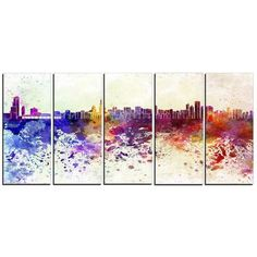 DesignArt Chicago Skyline Cityscape 5 Piece Painting Print on Wrapped Canvas Set