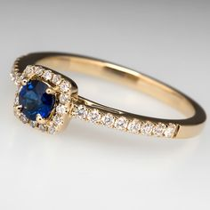 Blue+Sapphire+Diamond+Halo+Engagement+Ring+14K+Gold