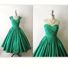 vintage green evening gown | 50's Evening Gown // Vintage 1950's Emerald Taffeta Strapless Cocktail ...