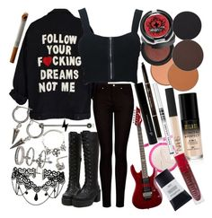 """We all carry these things inside that no one else can see. They hold us down like anchors. They drown us out at sea."" by thelyricsmatter ❤ liked on Polyvore featuring Sephora Collection, Hot Topic, CO, MANGO, Floyd, Kat Von D, Sugarpill, Anastasia Beverly Hills, NARS Cosmetics and Marc Jacobs"