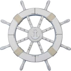 Breakwater Bay This product combines a vintage finish and precise craftsmanship to create a timeless piece of nautical wall art. Using traditional clean nautical, they have further accented the vintage ship wheel with rope. Brown Wall Decor, Fish Wall Decor, Tree Wall Decor, Metal Wall Decor, Nautical Bathroom Design Ideas, Nautical Wall Decor, Nautical Home, Nautical Backdrop, Starburst Wall Decor