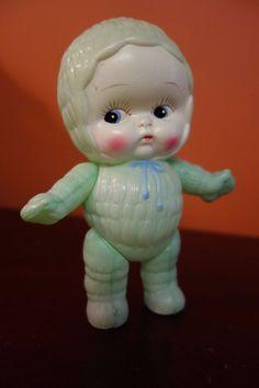 Vintage Antique Celluloid Doll Snow Baby Kewpie Type Beautiful Color Japan