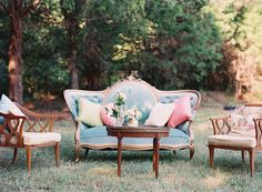 Wedding lounge. Blue authentic vintage sofa. Romantic fall Mississippi wedding | Photo by Cassidy Carson.