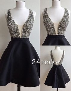 Cute black v neck sequin short prom dress for teens, backless short homecoming dress