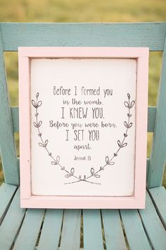 Before I formed you in the womb I knew you by NaturalBlissBoutique  Nursery decor, baby girl nursery decor, baby shower gift, new baby