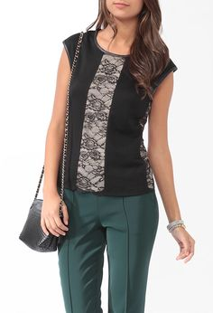 Contemporary Zippered Lace Panel Top