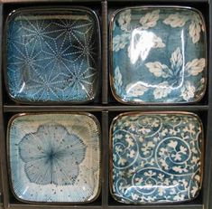 Japanese Dishes - Blue Garden Dish Set>>I didn't think I wanted square dishes, but you know I just may have changed my mind.