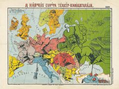 Hungarian Caricature Map of War (1914) [1920 × 1446]