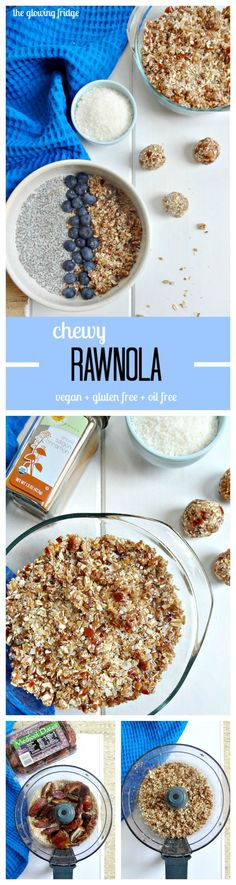 Chewy Rawnola - vegan + gluten free + oil free - Use as a topping for chia pudding, banana ice cream, smoothie bowls or enjoy by the handful for a healthy snack.