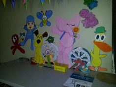 POCOYO THEME PARTY: Hand drawn Pocoyo characters over foam poster board
