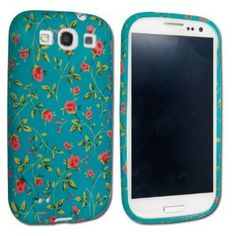 Gorgeou Samsung Galaxy S3 phone case - aqua green with roses... very vintage,  Cath Kidston-esque