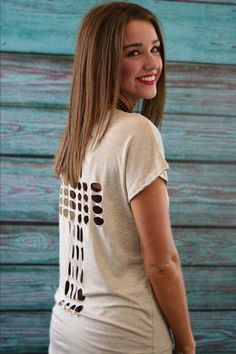 Oatmeal Crossed Out Top – The ZigZag Stripe