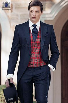 Italian bespoke black morning suit in new performance fabric, style 907 Ottavio Nuccio Gala, 2015 Gentleman collection. Wedding Suit Styles, Vintage Inspired Wedding Dresses, Wedding Suits, Groom Suit Vintage, Morning Suits, Waistcoat Men, Groom Attire, Groom Outfit, Suit Vest