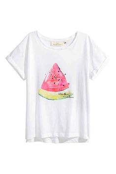 1a848c7aea7 Printed cotton top - White/Watermelon - Ladies | H&M GB White Short Sleeve  Tops