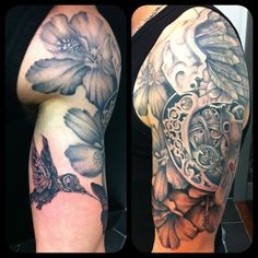 Start of a black and grey sleeve. Proudly sponsored by Body Shock tattoo supplies.