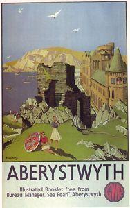 Aberystwyth - Great Western Railway by Michael Reilly Posters Uk, Train Posters, Railway Posters, Vintage Advertising Posters, Vintage Travel Posters, British Travel, Aberystwyth, Tourism Poster, Great Western