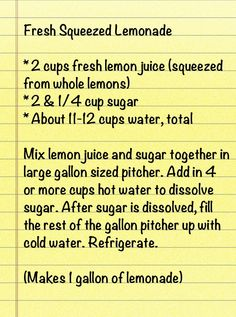 Fresh Squeezed Southern Lemonade -- okay just made this and it tastes like delicious fair lemonade!  Love it!