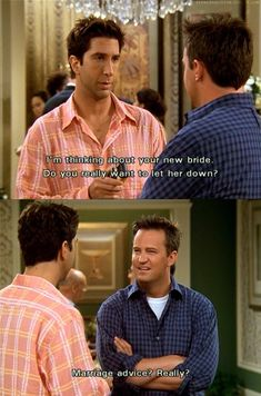 Marriage advice from Ross is like boyfriend advice from Taylor Swift Friends Scenes, Friends Moments, Friends Forever, Serie Friends, Friends Tv Show, Boyfriend Advice, Chandler Friends, Best Sitcoms Ever, Cinema