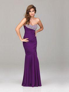 Column Dark Purple Sweetheart Open Back Long Prom Dress With Beads