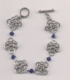 """Aluminum Chainmail Bracelet 8"""" w/Purple crystals $10 by The Missing Link (Wichita, KS)"""
