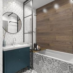 39 Simple Wooden Bathroom Design - Modul Home Design Gray Bathroom Walls, Wall Mounted Bathroom Cabinets, Wooden Bathroom, Small Bathroom, Mirror Bathroom, Paint Bathroom, Floor Mirror, Wall Mirror, Bathroom Cladding