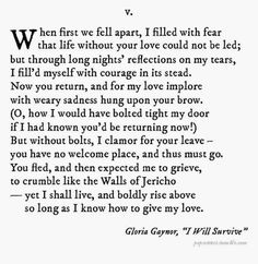 I Will Survive.  Gloria Gaynor.