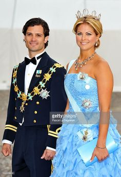 Princess Madeleine of Sweden and Prince Carl Philip of Sweden arrive to attend the Wedding Banquet for Crown Princess Victoria of Sweden and her husband prince Daniel at the Royal Palace on June 19, 2010 in Stockholm, Sweden.