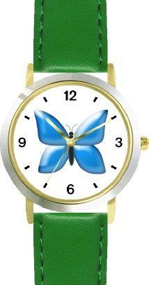 Blue Butterfly - JP Animal - WATCHBUDDY® DELUXE TWO-TONE THEME WATCH - Arabic Numbers - Green Leather Strap-Size-Children's Size-Small ( Boy's Size & Girl's Size ) WatchBuddy. $49.95