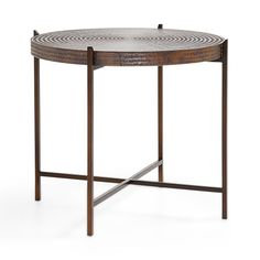 "Arhaus: Sanskrit 25"" Copper End Table ($699) 25"" DIAMETER X 21.5"" H"