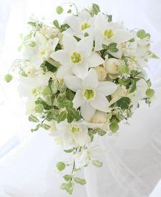 ブーケ 白 ユーチャリス : 一会 ウエディングの花